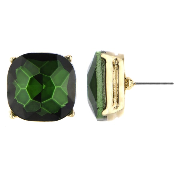 Green Cushion Stud Earring