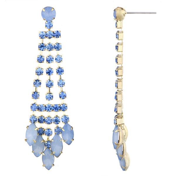 Light Blue Rhinestone Fringe Dangle Earrings