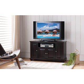K and B Furniture Dark Cherry Wood TV Stand