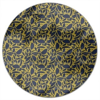 Gold Leaf Silhouettes Round Tablecloth