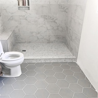 SomerTile 8.625x9.875-inch Textilis Silver Hex Porcelain Floor and Wall Tile (Case of 25)
