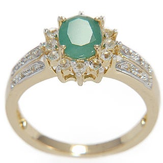 Goldplated Sterling Silver Indian Emerald and White Topaz Ring