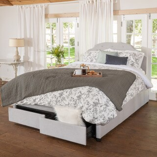 Christopher Knight Home Allyson Button Tufted Fabric Queen Bed Set with Drawers