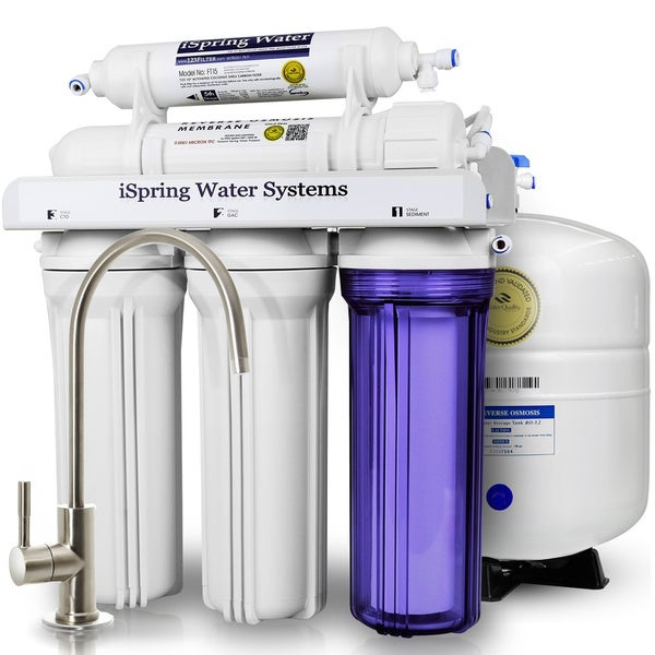 iSpring RCC7 5-stage Residential WQA Gold Seal Certified, 75 GPD Under-sink Reverse Osmosis Water Filter System 18727888