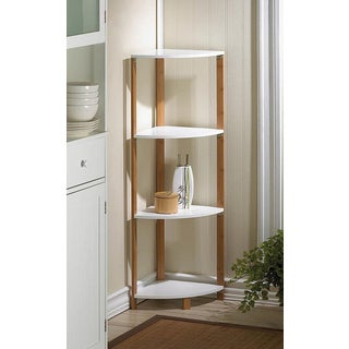 Brown/White Bamboo MDF Wood 4-Tier Corner Shelf