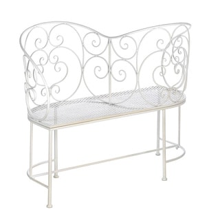 Friendly White Metal Outdoor Bench