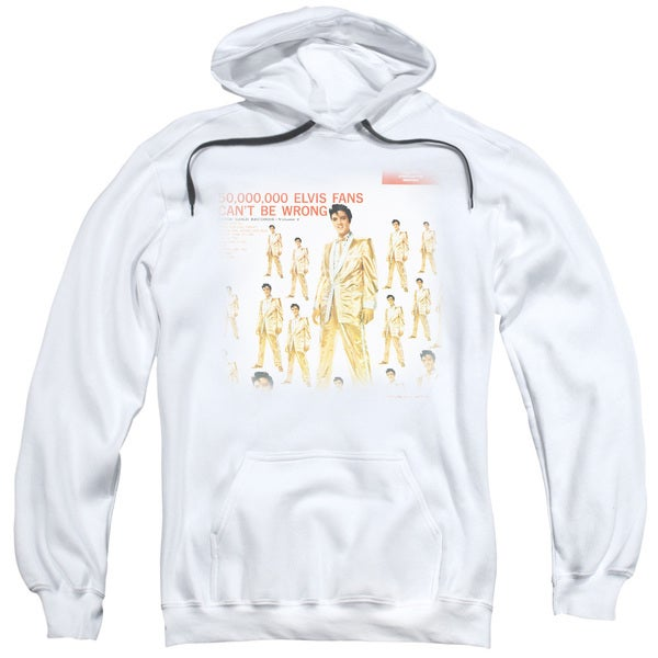 Elvis/50 Million Fans Adult Pull-Over Hoodie in White