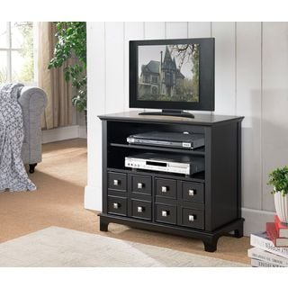 K&B Furniture Co. Black Wood Veneer TV Stand