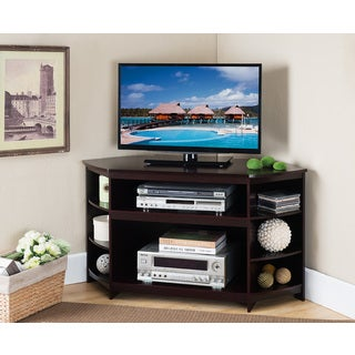 K and B Furniture Brown Wood and Veneer TV Stand