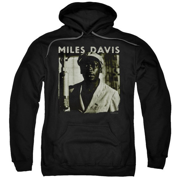 Miles Davis/Miles Portrait Adult Pull-Over Hoodie in Black