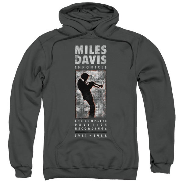 Miles Davis/Miles Silhouette Adult Pull-Over Hoodie in Charcoal