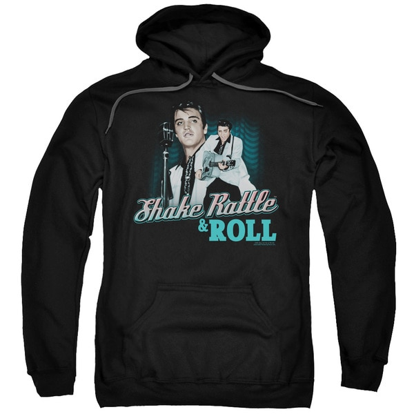 Elvis/Shake Rattle &Amp; Roll Adult Pull-Over Hoodie in Black