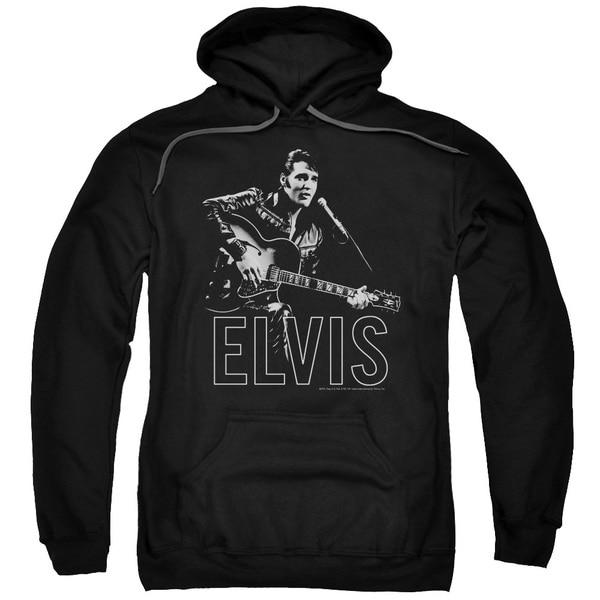 Elvis/Guitar in Hand Adult Pull-Over Hoodie in Black