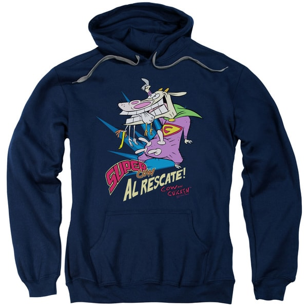 Cow &Amp; Chicken/Super Cow Adult Pull-Over Hoodie in Navy