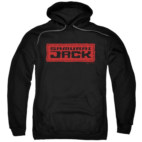 Samurai Jack/Red Logo Adult Pull-Over Hoodie in Black
