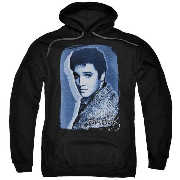 Elvis/Overlay Adult Pull-Over Hoodie in Black
