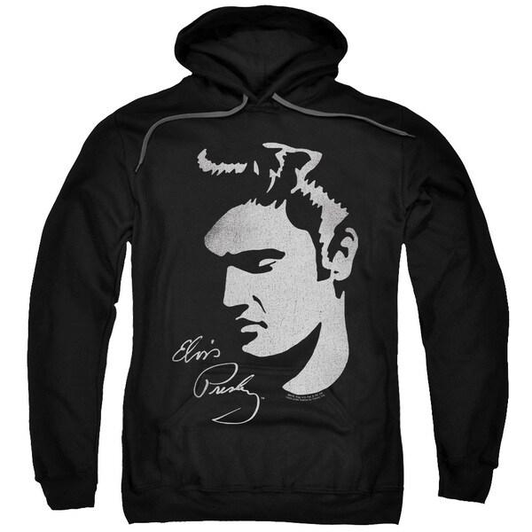 Elvis/Simple Face Adult Pull-Over Hoodie in Black