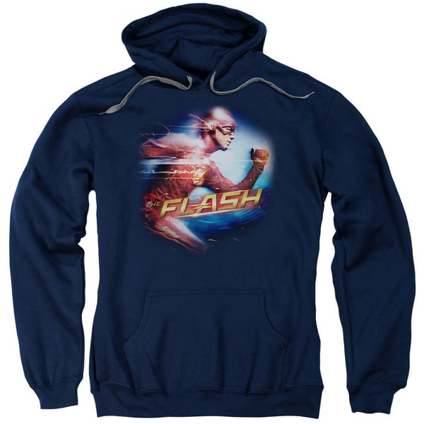 The Flash/Fastest Man Adult Pull-Over Hoodie in Navy