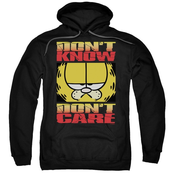 Garfield/Don't Know Don't Care Adult Pull-Over Hoodie in Black