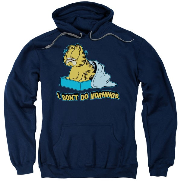 Garfield/I Don't Do Mornings Adult Pull-Over Hoodie in Navy