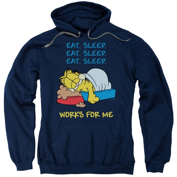 Garfield/Works For Me Adult Pull-Over Hoodie in Navy