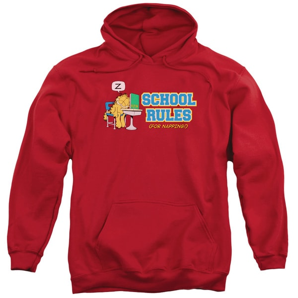 Garfield/School Rules Adult Pull-Over Hoodie in Red