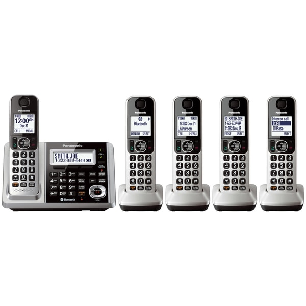Panasonic KX-TGF375S Link2Cell Bluetooth Backlit Keypad Silver Cordless Phone and Answering Machine with 5 Handsets