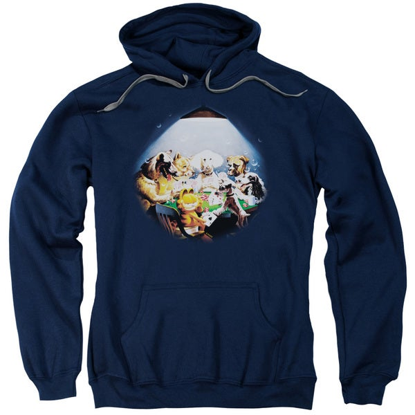 Garfield/Playing With The Big Dogs Adult Pull-Over Hoodie in Navy