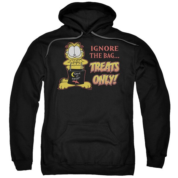 Garfield/Treats Only Adult Pull-Over Hoodie in Black