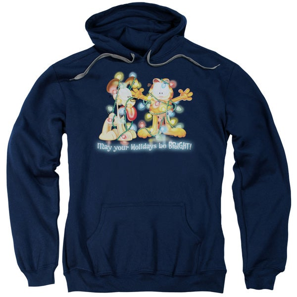 Garfield/Bright Holidays Adult Pull-Over Hoodie in Navy