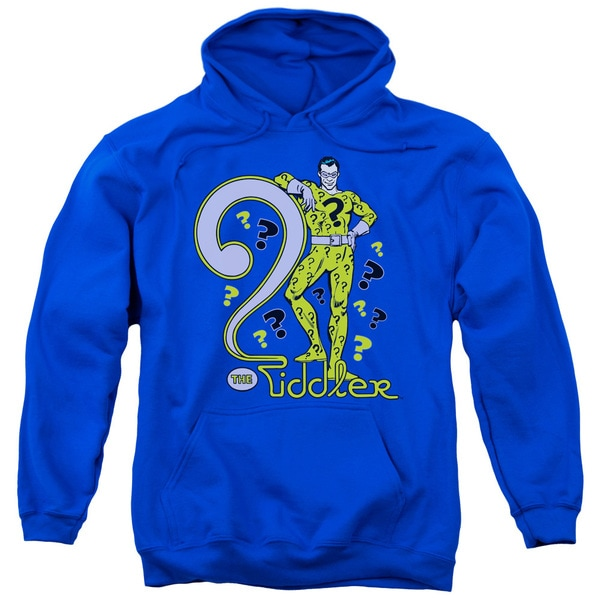 DC/The Riddler Adult Pull-Over Hoodie in Royal Blue