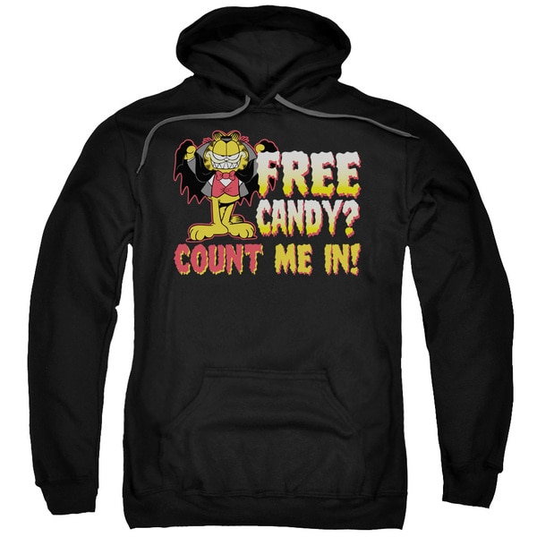 Garfield/Count Me in Adult Pull-Over Hoodie in Black