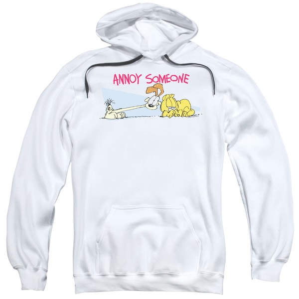 Garfield/Annoy Someone Adult Pull-Over Hoodie in White