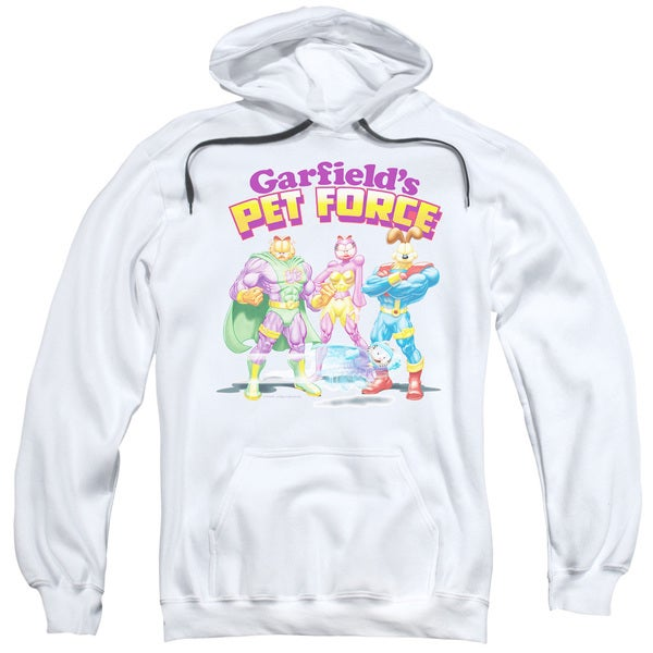 Garfield/Heroes Await Adult Pull-Over Hoodie in White