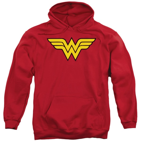 DC/Wonder Woman Logo Adult Pull-Over Hoodie in Red