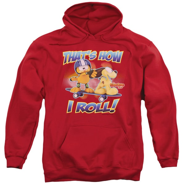 Garfield/How I Roll Adult Pull-Over Hoodie in Red