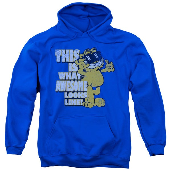 Garfield/Awesome Adult Pull-Over Hoodie in Royal Blue