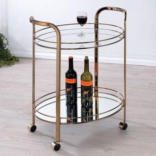 Furniture of America Vira Contemporary Champagne 2-shelf Serving Cart