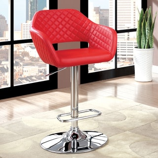 Furniture of America Vibrato Modern Tufted Faux Leather Height Adjustable Bar Chair
