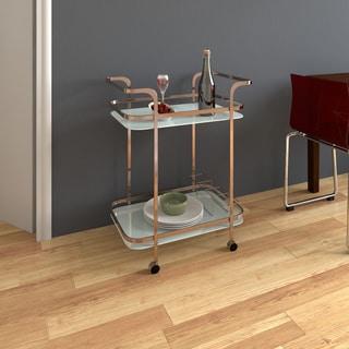 Furniture of America Jemma Contemporary Champagne 2-shelf Serving Cart