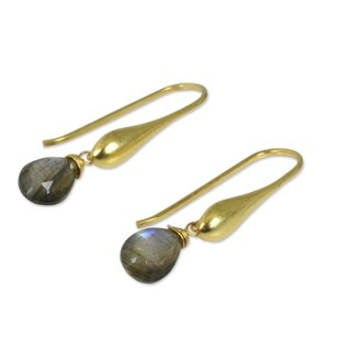 Gold Overlay 'Mystical Glamour' Labradorite Earrings (Thailand)