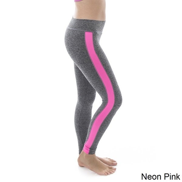 Soho Women One Size Super Stretch Comfortable Heather Grey/ Neon Side Stripe Active Workout Athletic Sport Leggings