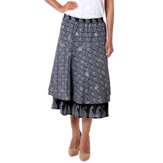 Cotton 'Ebony Tiers' Skirt (India)