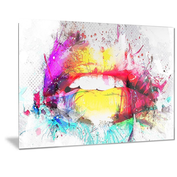 Designart 'Vibrant Lips Sensual Metal Wall Art