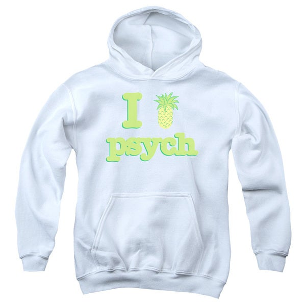 Psych/I Like Psych Youth Pull-Over Hoodie in White