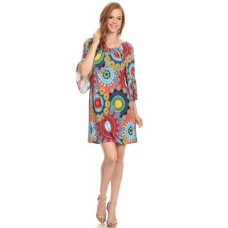 Moa Collection Women's Multi-color Round-neck Ornate Dress