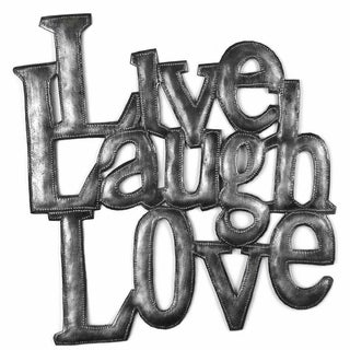 Handcrafted 'Live Laugh Love' Metal Wall Art (Haiti)