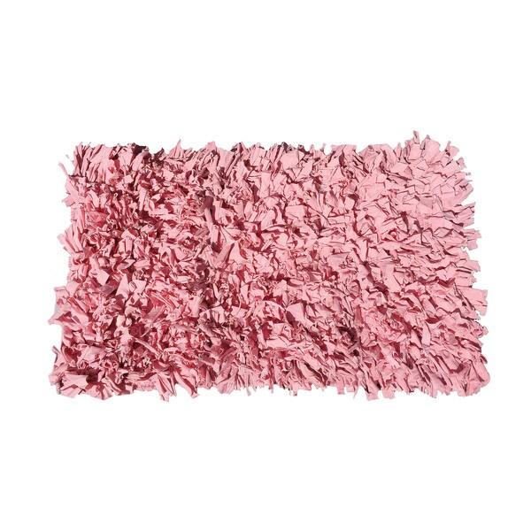 Jersey Pink Cotton Shaggy Hand-woven Rug (2-feet x 6-feet)
