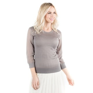 DownEast Basics Women's Sheer Genius Grey Acrylic Lightweight Sweater