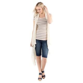 DownEast Basics Women's Off-white Nylon Crochet Cardigan